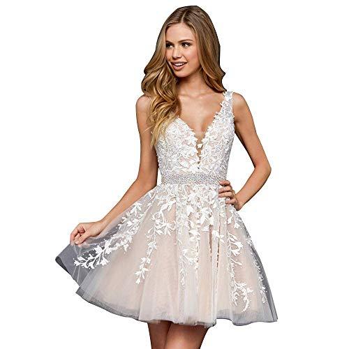 Cloverbridal Damen Braut Kurzkleid für Braut Kurz Spitze Applikationen Abendkleid V-Ausschnitt Riemen Ballkleider Elfenbein 38 (Kurze Ballkleider Riemen)