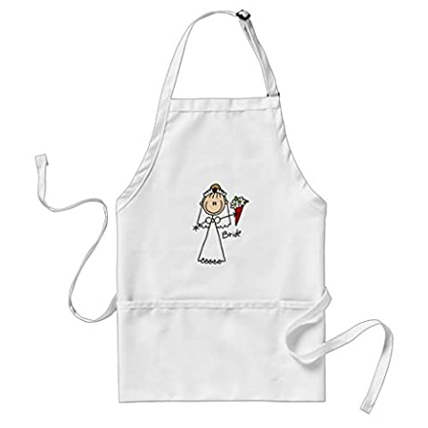 Whiangfsoo Stick Figure Bride T shirts and Gifts Adult Apron White Color