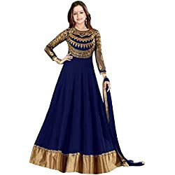 Suits for Women Indo-Western Red Party Wedding Wear Floor Length Gown/ Anarkali Suit/ Salwar Suit (Navy Blue)