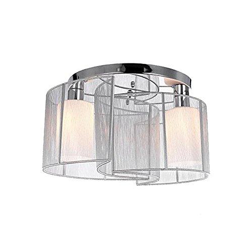 Deckenleuchte Set von 2 Modern Design Einfache White Semi-Flush montiert Deckenleuchten mit gebürstetem Lampenschirm Beleuchtung