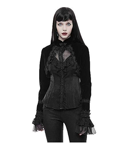 Punk Viktorianische Langarm-Strickjacke für Damen Gothic Stehkragen Bolero Lace Up Velvet Short Jacket Coat Black XL Lace-up Velvet