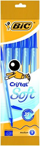 BIC Cristal Soft - Estuche de 4 bolígrafos, color azul