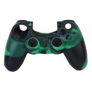 Haut Kasten camo Silikon Schutzhülle für PlayStation 4 PS4 Controller grün schwarz