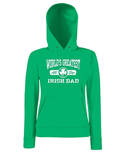 T-Shirtshock - Sweatshirt a capuche Femme TIR0225 worlds greatest irish dad dark tshirt Vert