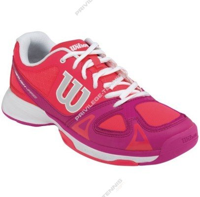 Wilson Rush Pro Jr Neon Scarpe da Ginnastica Unisex – Bimbi 0-24, Multicolore (Rosso / Rosa / Bianco), 28 1/2 EU