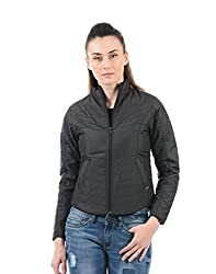 Pepe Jeans Womens Quilted Jacket (PILT200615_Black_X-Large)