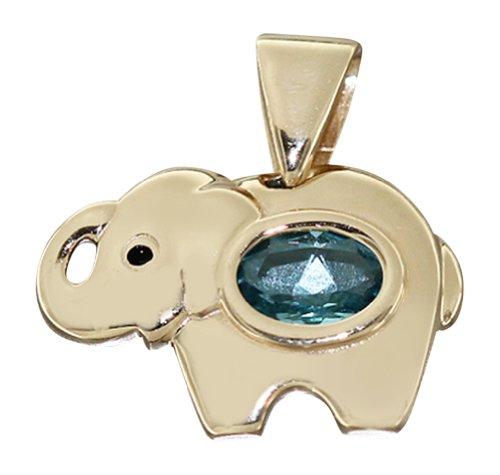 Colgante de elefante Hobra-Gold oro 585 MIT Topas - Colgante - oro...