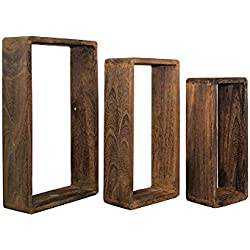 Rebecca Srl Set 3 Estante Flotantes Estantería Pared Rectangulo Madera Natural Marrón Oscuro Cubo Design Dormitorio Salon (Cod. 0-1631)