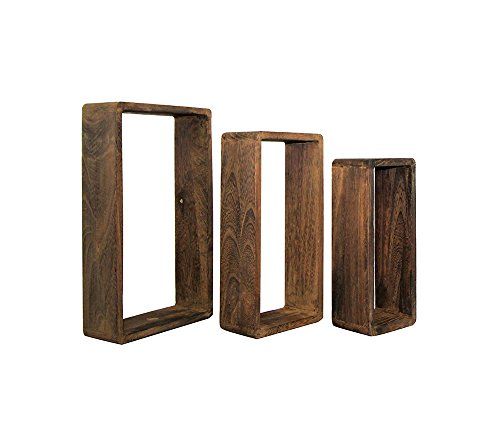 REBECCA SRL SET 3 ESTANTE FLOTANTES ESTANTERIA PARED RECTANGULO MADERA NATURAL MARRON OSCURO CUBO DESIGN DORMITORIO SALON (COD  0-1631)