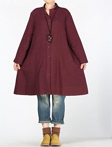 Vogstyle Femmes Chemise en Coton à Manches Longues en Coton Avec Devant Vin rouge