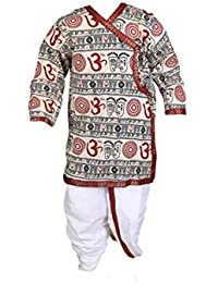 GN Om Print Beige Dhoti Kurta Set for Kids