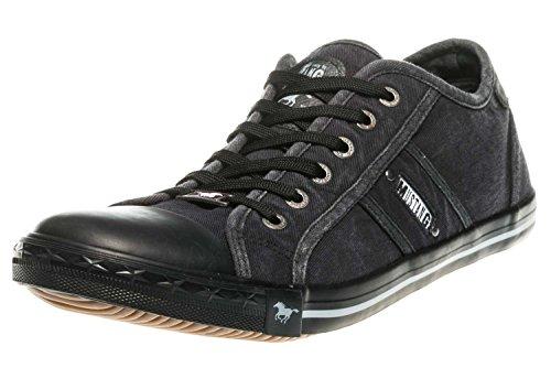 Mustang Damen Canvas Sneaker Schwarz/Dunkelgrau, Schuhgröße:EUR 44