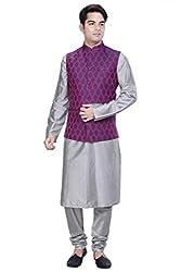 KISAH Men's Grey Cotton Silk kurta and Churidar with Purple Cotton Silk Nehru Jacket