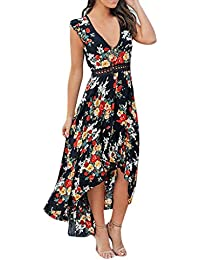 QINGXIA_ZI ❤️ Robe Longue Femme Vêtements Robe De Plage Manche Courte Boho Ete Imprimée Femmes Robe De Soleil de la Mode Cocktail Party Robe Decontractée Tunique Maxi Grande Taille Robe Plissée