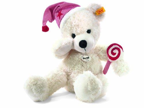 Steiff 111501 - Lotte Teddybär mit Mütze und Lolli, weiß