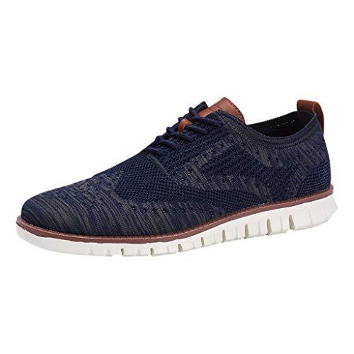 MMOOVV Herren weiche untere Schuhe gewebt atmungsaktive Schuhe leichte Bequeme Laufschuhe Freizeit Sportschuhe (Blau 40EU) -
