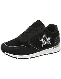 SHOWHOW Herren Flache Low Top Freizeitschuhe Sneakers Schwarz 43 EU
