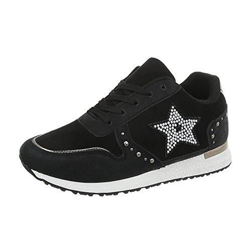 Ital-Design Sneakers Low Damen-Schuhe Flach Schnürsenkel Freizeitschuhe Schwarz, Gr 38, Bb2033-Sp-