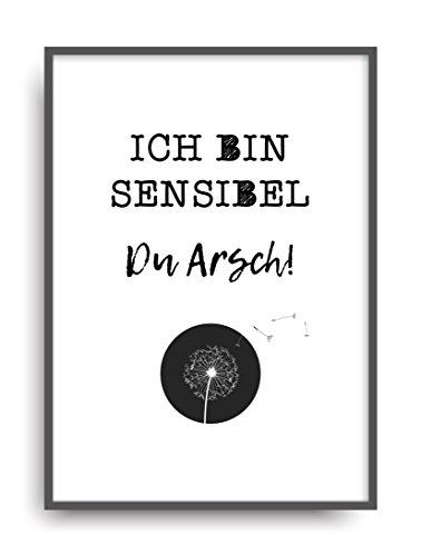 Moderner Vintage Poster Druck SENSIBEL 1 Fine Art Kunstdruck Deko Bild Print Plakat DIN A4 Geschenk