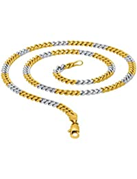 Dare Silver Stainless Steel With Dual Tone Plated Chains For Men