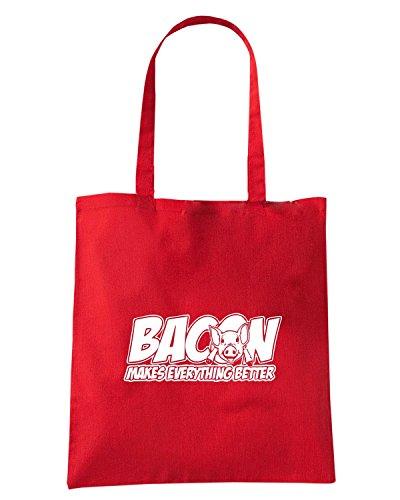 T-Shirtshock - Borsa Shopping FUN0672 bacon makes everything betterLRG Rosso
