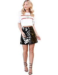 SheLikes Womens Vinyl Button Through A-Line Glossy Shiny Mini Skirt
