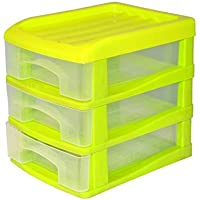 HOMEA Organiseur avec 3 mini tiroirs plastique 13x17x15,5 cm vert
