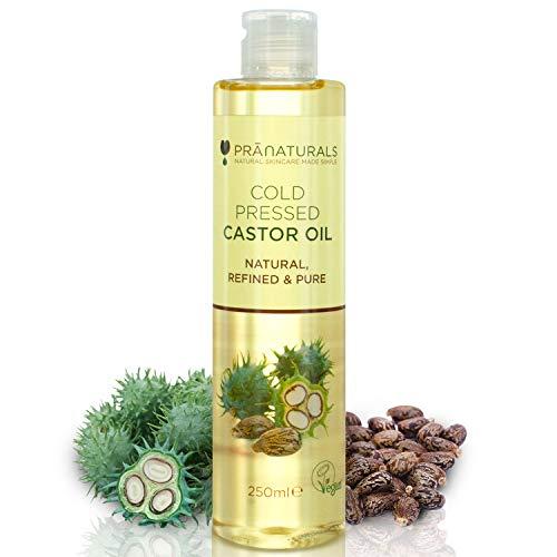 PraNaturals Olio di ricino pressato a freddo 250ml - Naturale, puro, vegano al 100% - per la crescita di capelli e ciglia - per ammorbidire la pelle e il viso. Ricco di OMEGA-6 e OMEGA-9