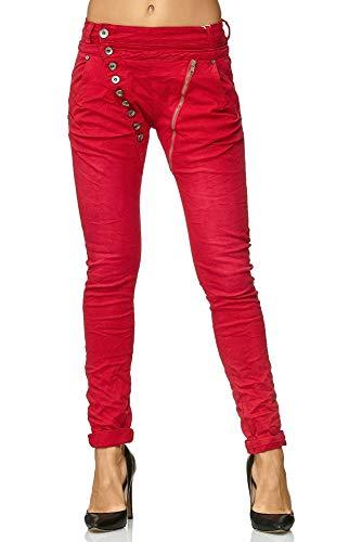 Elara Damen Jeans Boyfriend Baggy Knopfleiste Chunkyrayan C613H-5 Red 38/M
