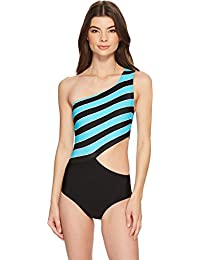 dc06633d2c977 Michael Michael Kors Womens Rope Rugby Stripe One Shoulder Cut Out One-Piece  Swimsuit w