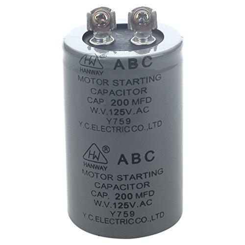 SODIAL (R) AC 125V 200uF 200MFD 2 Terminals Motor Kondensator 125v Motor