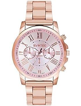 Fashion Armbanduhr Chronograph Optik Edelstahl Quarzuhr Damenuhr Herrenuhr Unisex Uhr Uhren Designer Farbe Roségold...