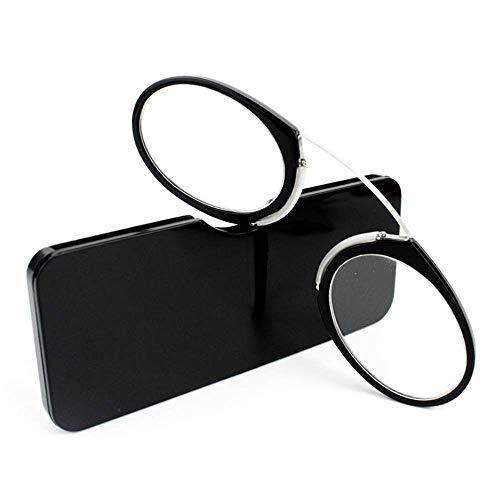Unisex Lesegläser Kompakte Sehehilfe Mini Nose Clip Bügellose Lesebrille Rutschfest Lesehilfe- Immer griffbereit(Schwarz,+2.5)