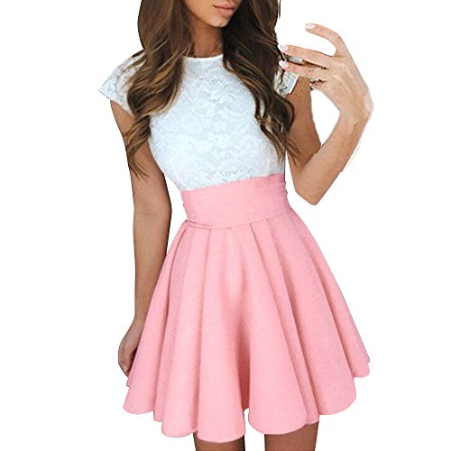 SUNNOW Womens Lace Party Cocktail Mini Dress Summer Casual Dress Elegant Short Sleeve Dresses