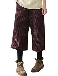 4b72087aa1 Youlee Mujeres Invierno Cintura elástica Pantalones de Pana Pantalones  Anchos