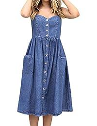 69eee22892f5 Rosennie Damen Elegant Bodycon Jeanskleid Kleid Ärmellos Neckholder V  Ausschnitt Sexy Denim Taschen Kleider Frauen Urlaub…