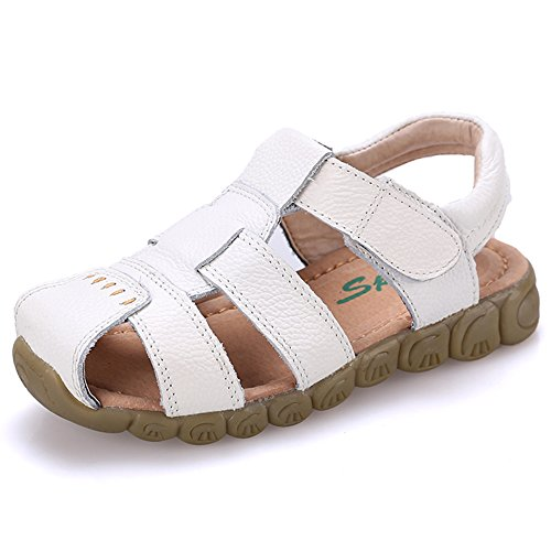 JACKSHIBO Kinder Sandalen Leder Geschlossene Sommer Schuhe Für Jungen Mädchen