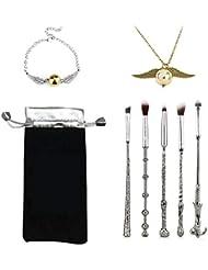Surenhap Augenpinsel Wizard Wand Potter Design, 5pcs Augen Lidschatten Blending Pinsel mit Halskette und Armband als Geschenk für Fan von Harry Potter