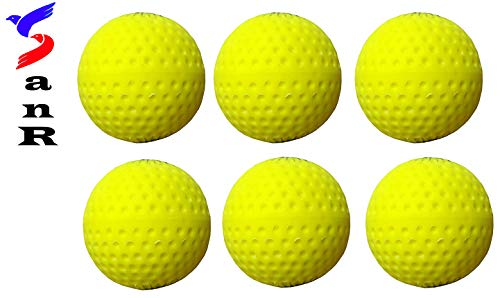 SanR Hky6Ylw PU Flasho Color Practice Cricket Bowling Machines Ball, Weight 140 to 155 Grams Pack of 6 (Yellow)