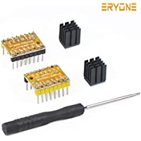 TMC2208 3D Drucker Stepstick Stepper Motor Driver, Eryone 2 Pcs TMC2208 Stepper Driver Module Packed with Heat Sink Screwdriver for 3D Drucker Mother Boards Reprap MKS Prusa and More, Yellow