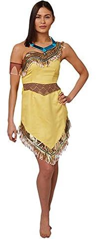 Zauberclown - Damen Karnevals Komplett Kostüm Pocahontas , Gelb, Größe M