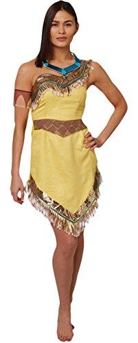 Halloweenia - Damen Karnevals Komplett Kostüm Pocahontas , Gelb, Größe (Pocahontas Film Kostüm)