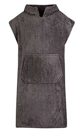 Für Kinder - Unisex 100% Baumwoll Bademantel Poncho mit Tasche Frottiermantel Handtuch Schwimmen Surfen - Alter 10-13, Schiefer