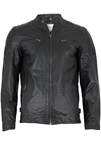 JACK & JONES PREMIUM Herren Lederjacke jjprQUBIC JACKET, Gr. Medium, Schwarz (Black Fit:SLIM FIT)