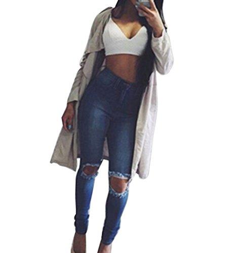 Damen Jeans Hose Skinny Denim Jeanshose mit Löcher Lange Hose Röhrenjeans Hüftjeans M Als Bild