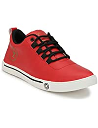Lavista Men's Red Synthetic Leather Casual Shoe.