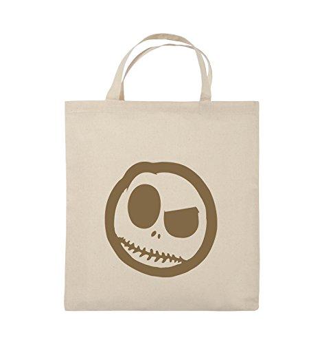 Comedy Bags - BÖSER SMILY - COMIC - Jutebeutel - kurze Henkel - 38x42cm - Farbe: Schwarz / Silber Natural / Hellbraun