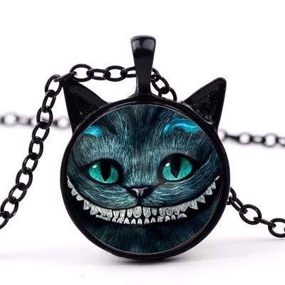 Lächelnde Cheshire Katze Halskette Alice Abenteuer Im Wunderland Kreative 3d Effekt Glas Cabochon Katze Ohren Anhänger Halskette -