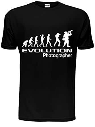 Evolution Of A Photographer Gift Photography Cameraman Mens T Shirt Small Black