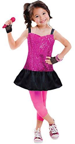 Halloweenia - Mädchen Rockstar Kostüm, Karneval, Fasching, Halloween, Pink, 98-116, 3-6 - Mädchen Freche Flapper Kostüm